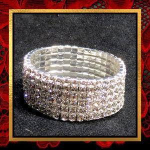 Rhinestone Wide Stretch Bracelet #729